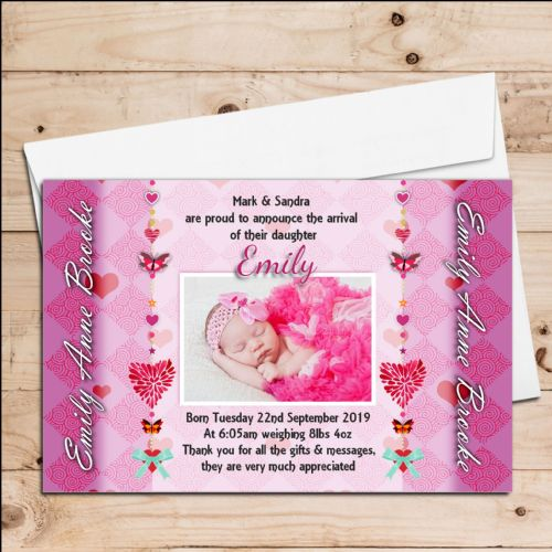 10 Personalised Baby Girl Birth Announcement Thank You Photo Cards N81